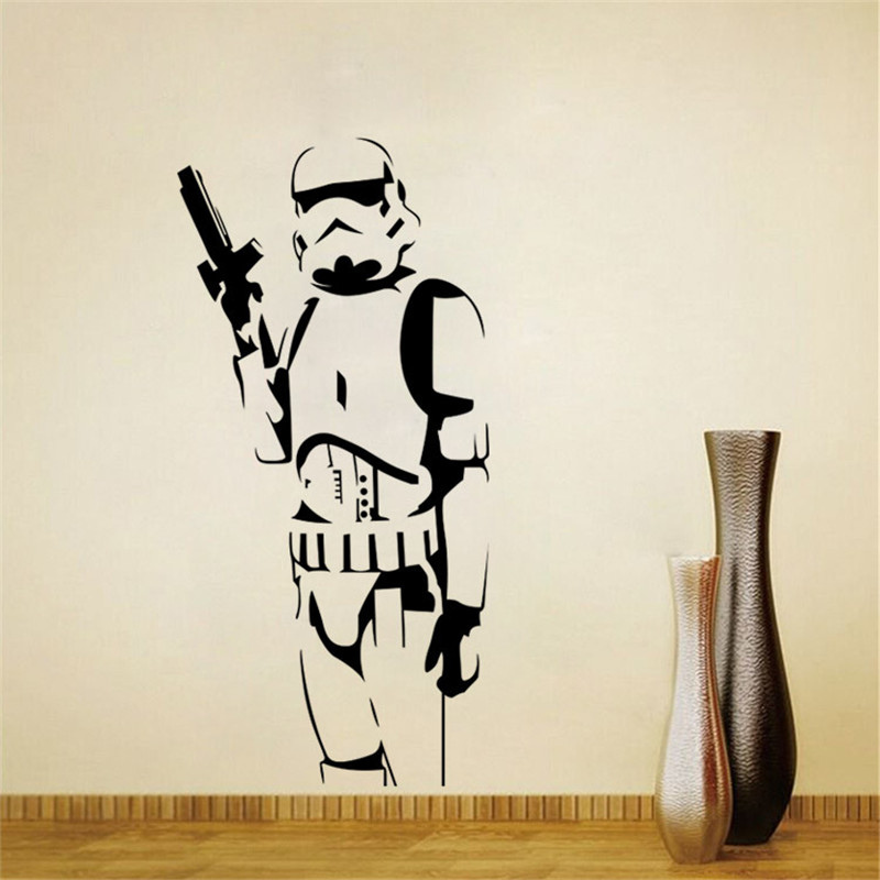 Star Wars Storm Trooper Wall Sticker Vinyl Art Decal Iconic Kid Room Sticker Decor DIY Home Decoration Wall Mural Size 42*115CM