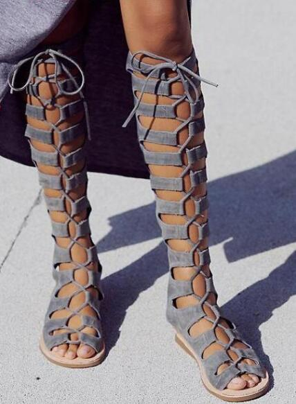 Sexy Open Toe Ladies Gladiator Boots Fashion Gray Suede Leather Women Lace Up Boots Zipper Back Female Summer Knee High Boots lace trim open back lace up top