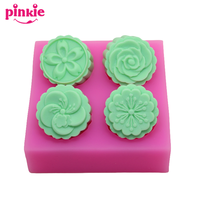 Cheap Four Cavities Chinese Characters Shaped Eco Friendly Handmade 3D Silicone Soap Molds Fondant Moulds Chocolate