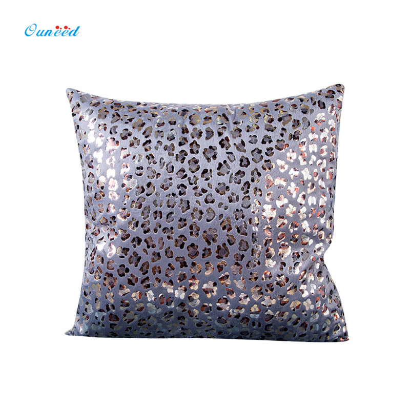 Ouneed COOL Leopard Bronzing 45cm*45cm Pillow Covering Home Gold/Silver/Red/Khaki Print Decortion Throw Pillow Case 1PC