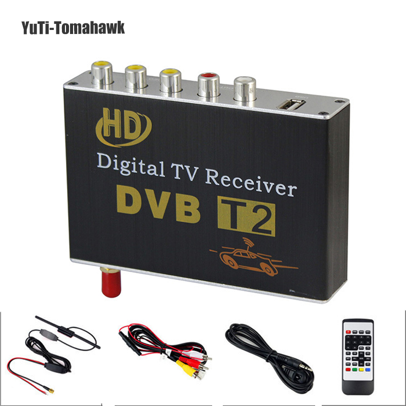 Hot Digital Car TV Tuner DVB T2 Car TV Receiver HDMI 1080P CVBS DVB-T2 Support H.264 MPEG4 HD TV Receiver For Car,Free Shipping 1080p mobile dvb t2 car digital tv receiver real 2 antenna speed up to 160 180km h dvb t2 car tv tuner mpeg4 sd hd
