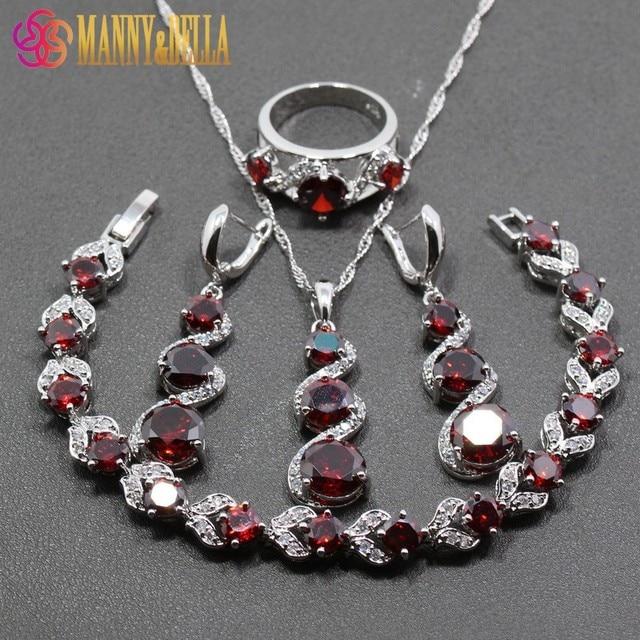 Hot Selling 925 Sterling Silver Women Wedding 4PCS Jewelry Sets Red Garnet Ring Size 6/7/8/9/10 Bracelet Length 18CM JS30