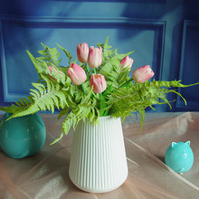 INDIGO- 9pcs Bouquet Pink Tulip Forrest Fern Exclusive Sales Snow-On-The-Mount Artificial Flowe Home Decoration Free Shipping