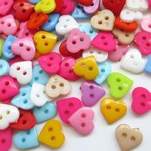 Suoja 50 шт. смешанные 6 мм мини крошечные пуговицы для шитья в форме сердца пластиковые швейные куклы одежда 2 отверстия Кнопка украшения для вырезок