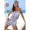 New 2016 Sexy Women Off Shoulder Strapless Gradient Printed Shorts Jumpsuits Casual Summer Beach Party Playsuit Rompers