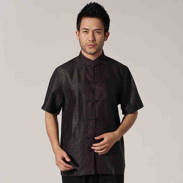 e89e85ada0183 High Quality Brown 100% Handmade Silk Men s Shirt Chinese Style Kung Fu Tai  Chi Short