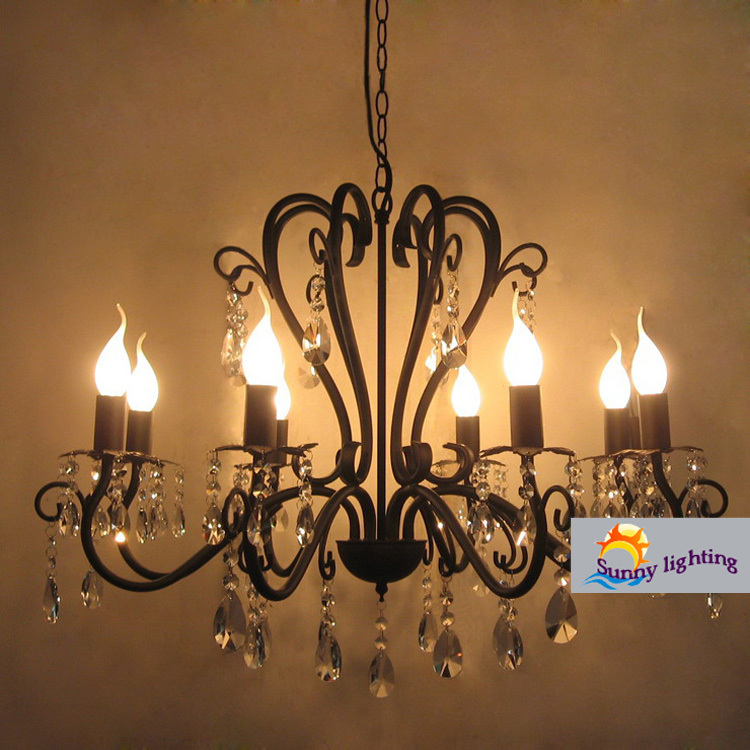 Coffee Vintage Wrought Iron Chandelier Crystal Lampara Er Hotel Black Bedroom Kitchen Bar Indoor Lighting In Chandeliers From Lights