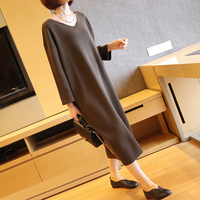 New Arrive Spring And Autumn Female V Neck Loose Sweater Dress Women S Pure Color Long