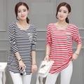 4xl além disso big size blusas feminina primavera outono inverno 2016 coreano roupa cinza ponto A1878 tarja de manga comprida T-shirt feminina