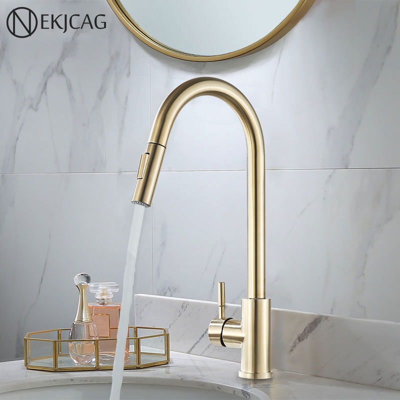 Brushed Gold All Copper Light Luxury Hot And Cold Above Counter Basin Heightening Rotating Wash Kitchen