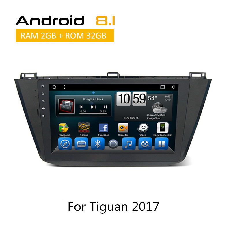 2 Din Auto Radio For VolksWagen VW Tiguan 2017 Android Car Stereo Steering Wheel Control Head Unit AUX Bluetooth GPS Navigation