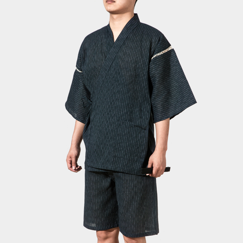 New Summer Thin Traditional Japanese Kimono Men Seersuckers Yukata Mens Bath Robe Set Kimono Stage Performance Samurai Clothes