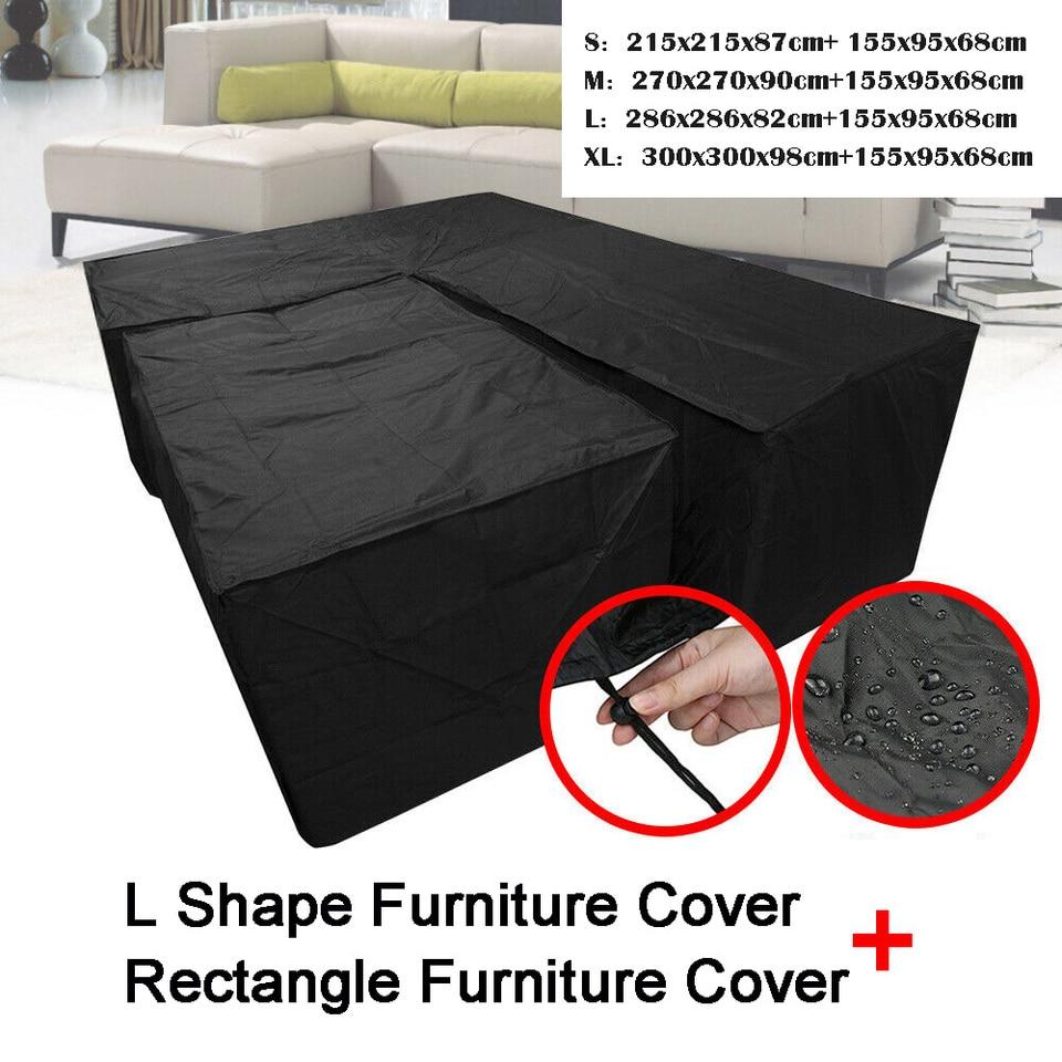 Waterproof Garden Rattan Corner Furniture Cover Outdoor Sofa Protect L  Shape Kit UV-resistant Polyethylene Cover S M L XL