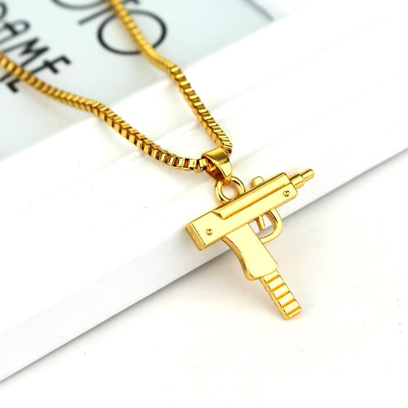 fashion hip hop jewelry engraved letter gun necklace 65cm