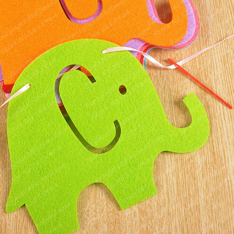 Мультфильм decorBaby День Рождения украшения флаг День Рождения вечерние расположение Цвет Маленький слон ткани детский сад Школа учитель