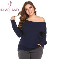 IN'VOALND Plus Size XL 4XL Women Sweater Tops Spring Autumn Sexy One Shoulder Long Sleeve Solid Casual Large Pullover Big Size