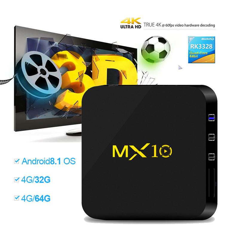 MX10 Android 8.1 Smart TV BOX 4 gb DDR4 32 gb EMMC RK3328 Quad Core 4 karat HDR 2,4 ghz WIFI USB 3.0 satz Top Box Media Player PK X92 H96