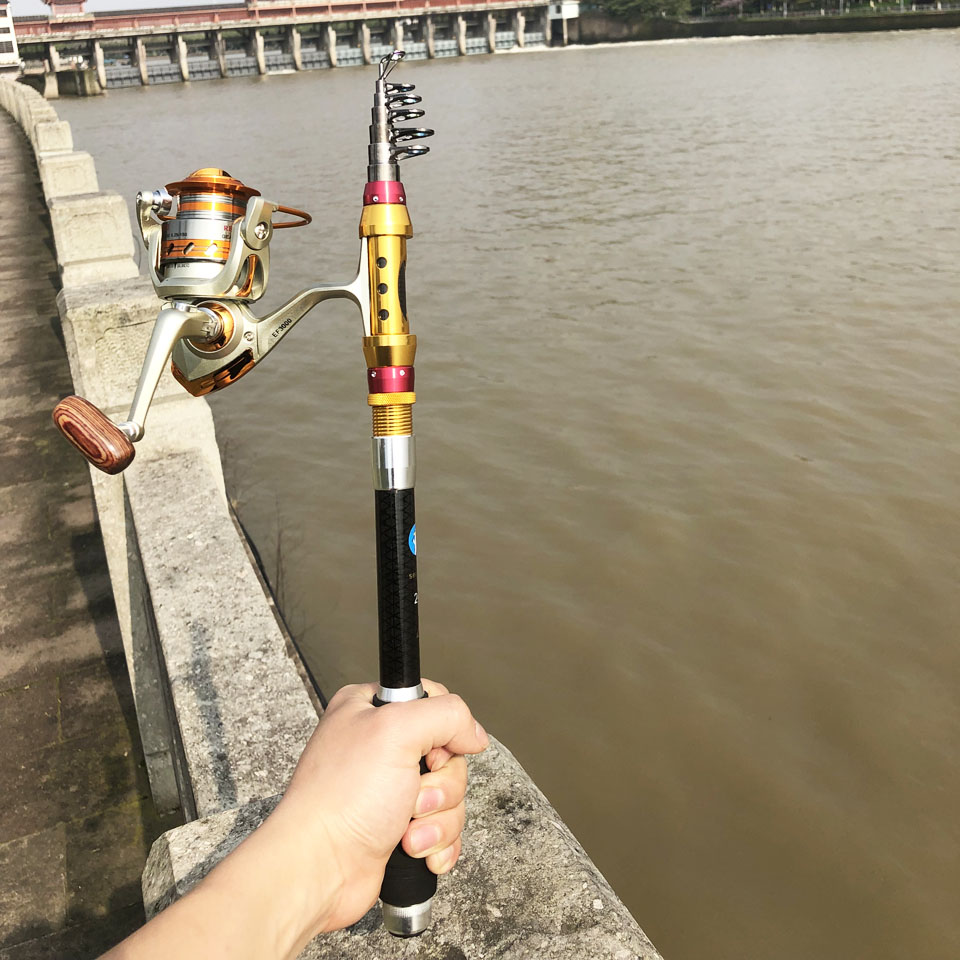Portable retractable Telescopic fishing rod + reel combo spinning travel rod 1.8m 3.6m  40cm carbon stick boat rock pole-in Fishing Rods from Sports & Entertainment