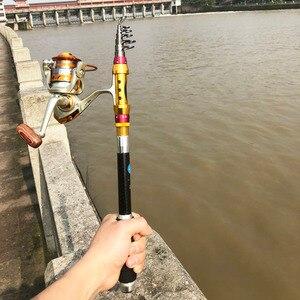 Image 1 - Portatile a scomparsa da pesca Telescopica rod + reel combo di filatura asta di viaggi 1.8 m 3.6 m 40 centimetri di carbonio bastone barca rock pole
