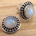 Silver Plated Classic RAINBOW MOONSTONE Post Earrings LIGHTWEIGHT