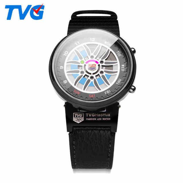 Digital Reloj de Los Hombres Dial Multifunción LED Impermeable Luz de La Noche del Neumático-llanta de Congelación-resistente Correa de Cuero Genuino de Carreras