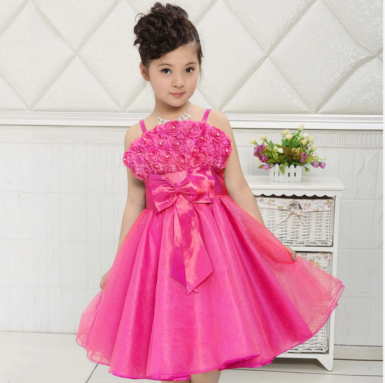 Fashion Strapless Rose Flowers Girl Dress For wedding party Bow ...