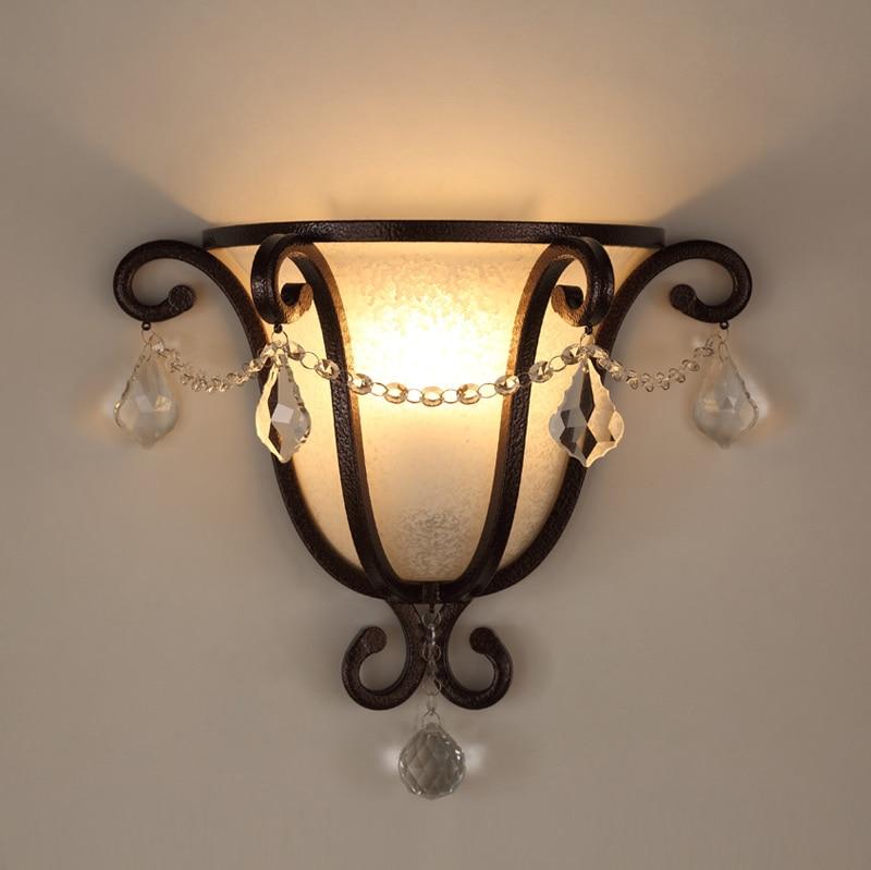 Настенный светильник в стиле ретро из кованого железа, хрустальные лампы для спальни, светодиодный настенный светильник из стекла, настенный светильник для лестницы, настенный светильник в винтажном стиле E27 Arandela