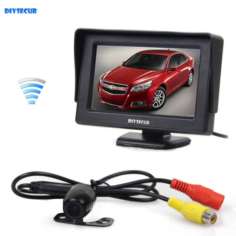 DIYSECUR Wireless Waterproof HD Reverse Backup Car Camera + 4.3 inch LCD Display Rear View Car Monitor Parking System
