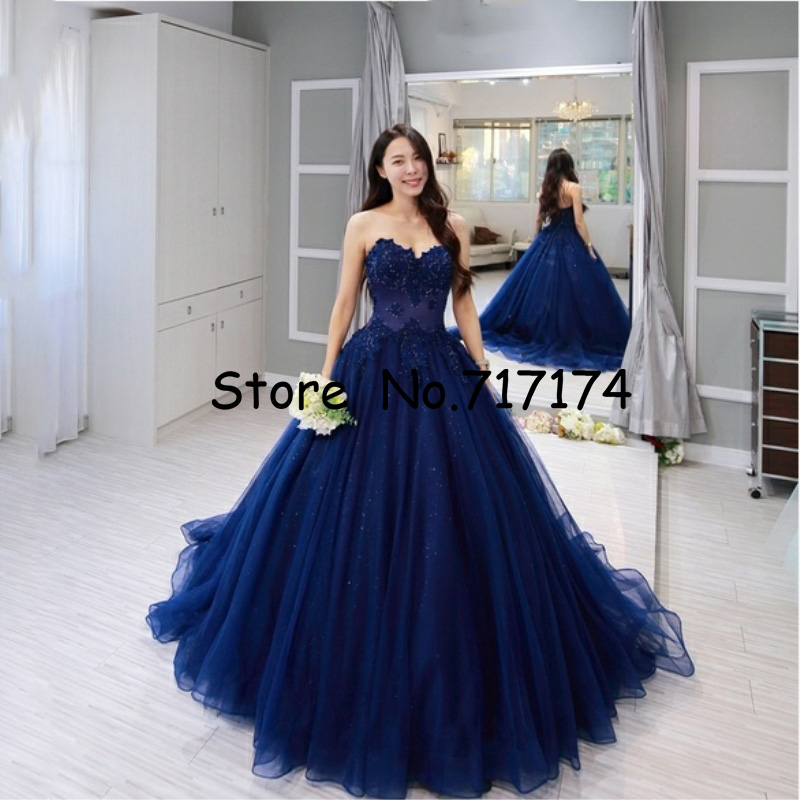 Ball-Gown Prom-Dresses Evening-Dress Beading Applique Vintage Sleeveless Lace Blue Sweetheart