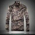 ШАН БАО бренд одежда с высоким воротником Футболка мужчин прилив ретро стиль золото печати толстые теплые осень и зиму рукавами футболки