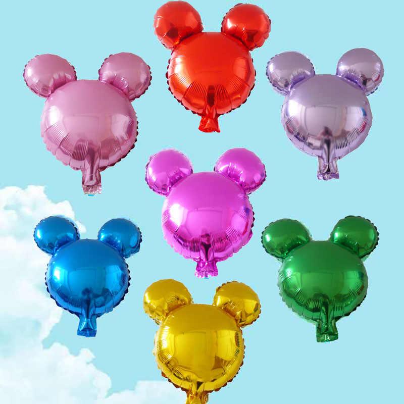 10 個ミニミッキーヘッドアルミ箔風船子供ミッキーマウスのおもちゃボール誕生日パーティーの装飾漫画の動物の頭バルーン