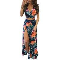 YJSFG дом элегантное женское летнее, длинное, макси платья комплект из двух предметов сексуальный 2019 выдалбливают укороченный топ рубашки с ц...