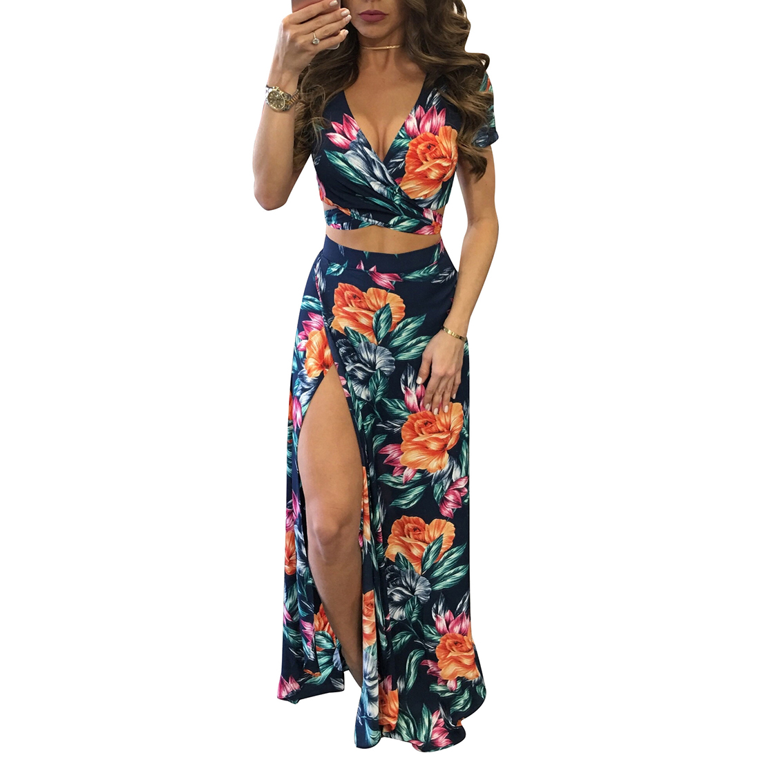 YJSFG HOUSE Elegant Women <font><b>Summer</b></font> Long Maxi Dresses Two Piece <font><b>Set</b></font> <font><b>Sexy</b></font> <font><b>2019</b></font> Hollow Out Crop Top Skirts Floral Print 2 Piece Suits image