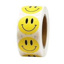Желтые наклейки со смайликом, 500 этикеток в рулоне, милые наклейки для этикетки для печати, Детские канцелярские принадлежности, кавайные наградные наклейки