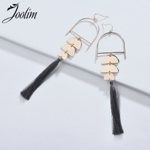 JOOLIM 3 Half Circles Fabric Tassel Drop Earrings Dangle