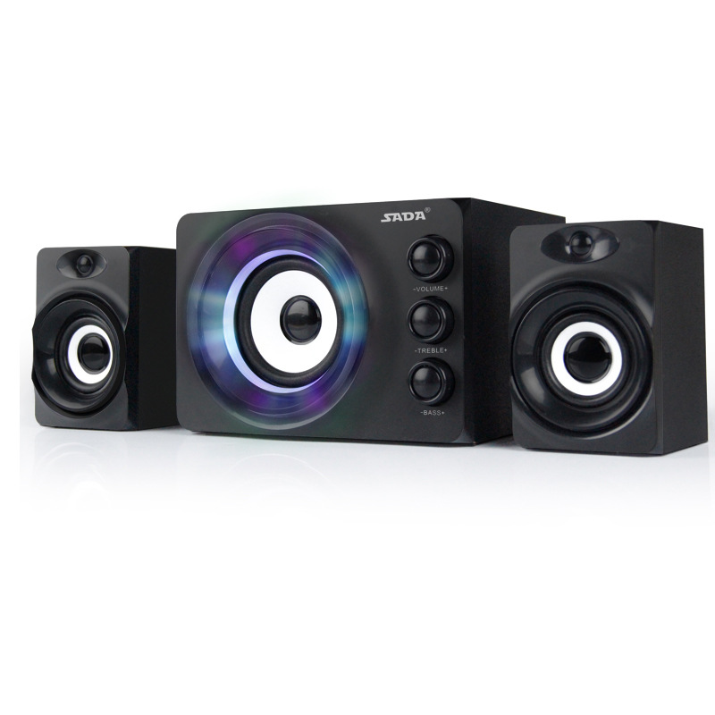 SADA D 206 Brand Mini Wired Portable Combination Speaker Colorful LED Column Multimedia Stereo Computer Speakers