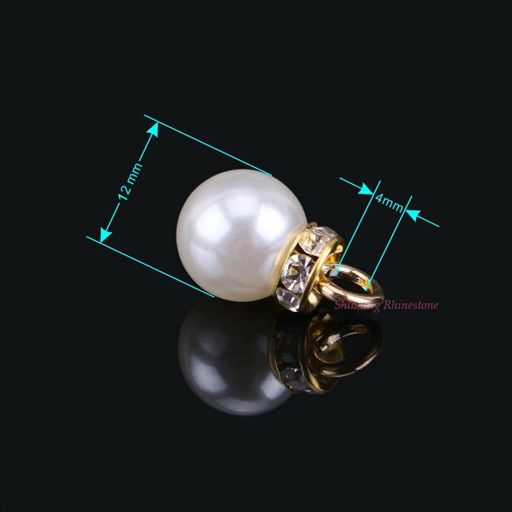 Sew On Imitation Pearls Charms Sew On Pearl Round Beads With Copper Hooks DIY Garment Buttons 10pcspack