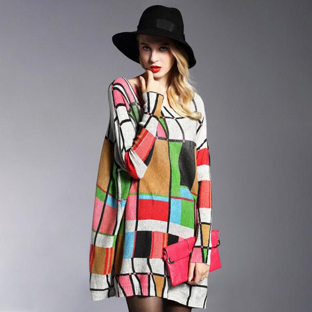 2016 otoño invierno moda de manga larga floja dress suéteres de las mujeres suéter de lana ocasional impresión de la camisa de punto jersey de gran tamaño 6122