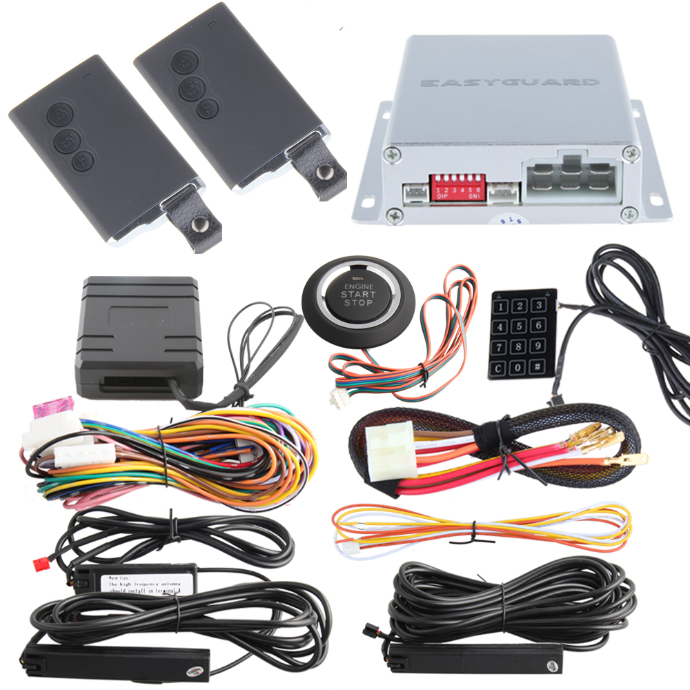Remote engine start PKE car alarm system with push start stop button, immobilizer bypass and remote lock unlock cars 433.92MHZ easyguard pke car alarm system remote engine start stop shock sensor push button start stop window rise up automatically