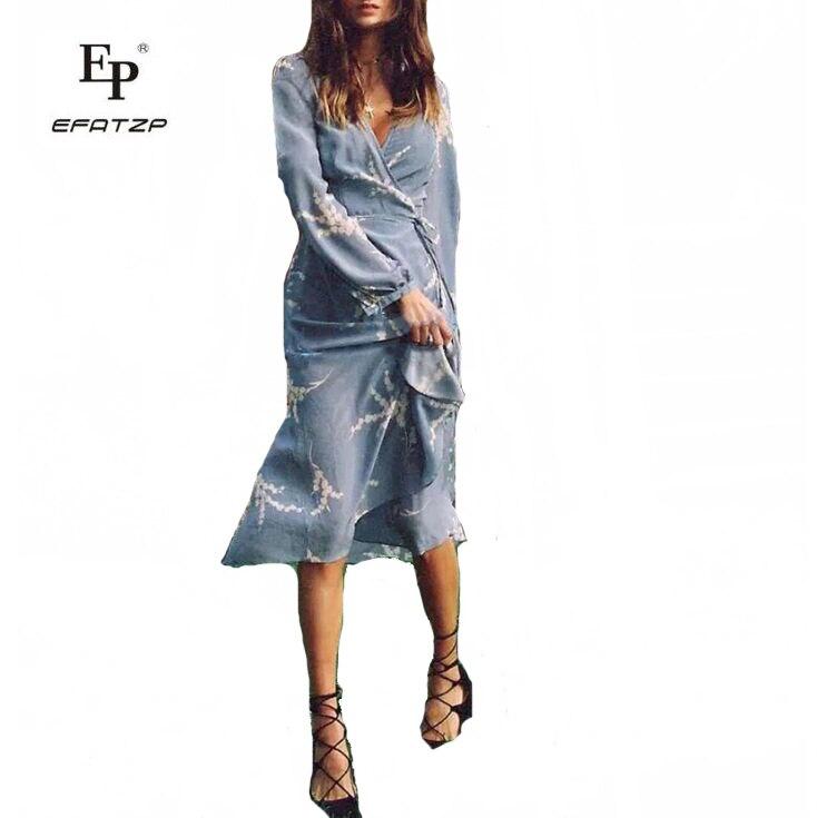 EFATZP 2018 Summer Woman V Neck Long Sleeve Rice Ear Print Blue Wrap Dress Ladies Beach