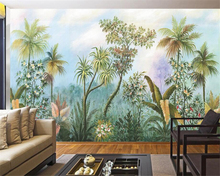 Beibehang Custom Wallpaper European Hand Painted Rainforest Banana Coconut Tree Frescoes 3d wallpaper for walls