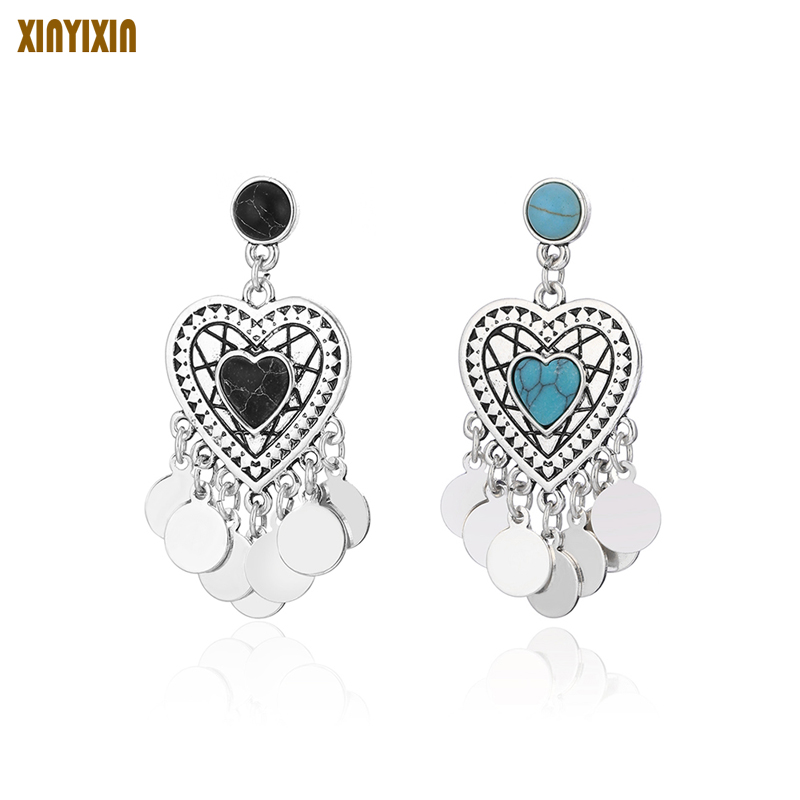 Creative Personality Heart Earrings Fashion Retro Turquois Long Tassel Earrings Original Pattern Costume Jewelery Party Gifts
