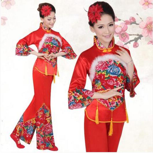 Women Red Printing Younger Style Costume Fan Drum Dance Clothes Performance Costume Chinese Folk Dance Costume
