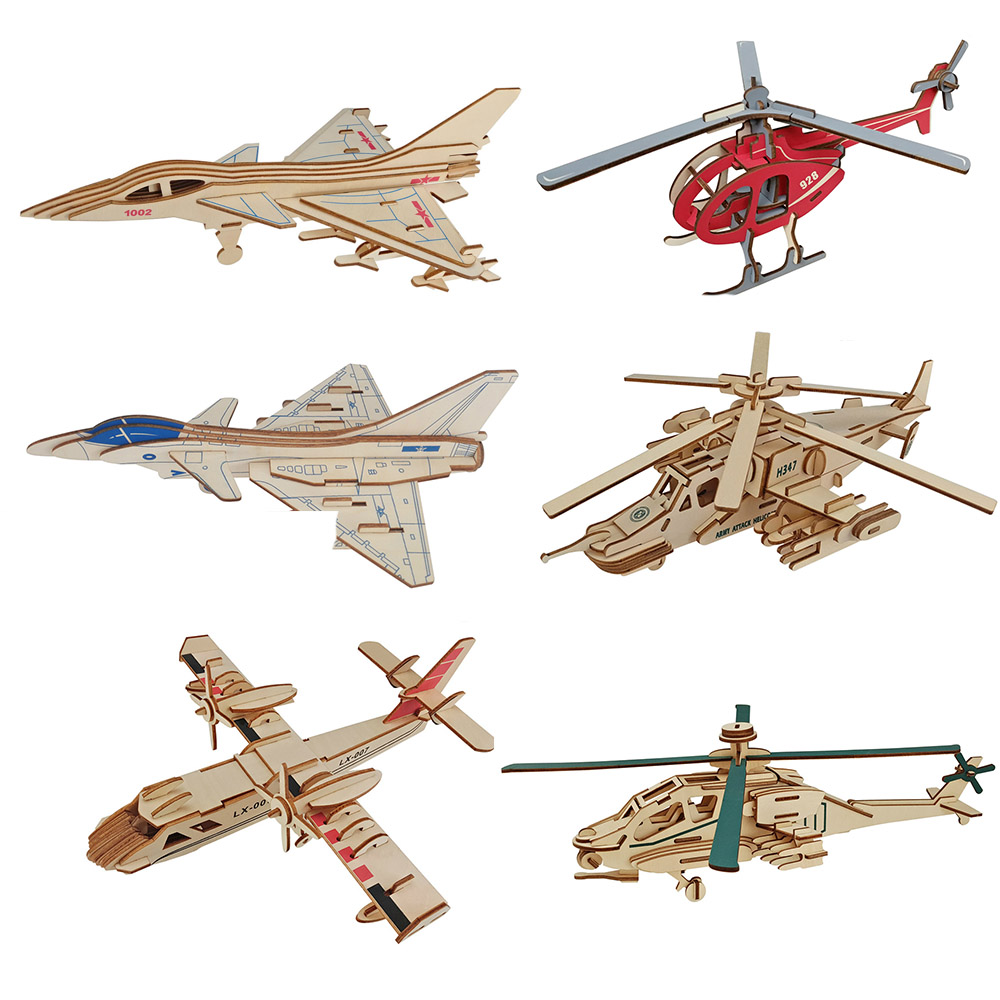 Wooden 3D Puzzle Jigsaw Plane Wooden Toys For Children helicopters Puzzles Intelligence Kids Children Educational Toy electric spider robot toy diy educational intelligence development assembles kids children puzzle action toys kits