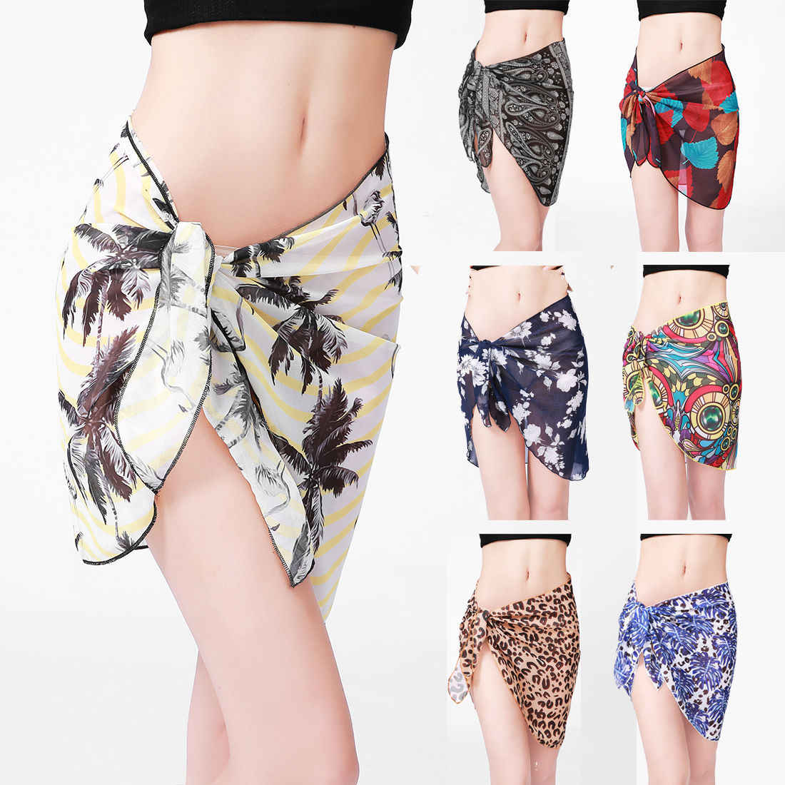 52f7e7d953 ... New Beach Skirt Women Chiffon Short Sarong Bikini Cover Wrap Up Summer  Dress Swimwear Beachwear ...