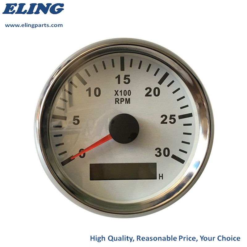 ELING Universal Tachometer 3000RPM REV Counter Tacho Gauge with Hour Meter for Car Truck Boat Yacht Red Backlight 85mm 9-32V