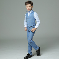 2018 winter boys suits plaid light blue vest sets wedding suits for kids tuxedos boys wedding clothes terno meninos