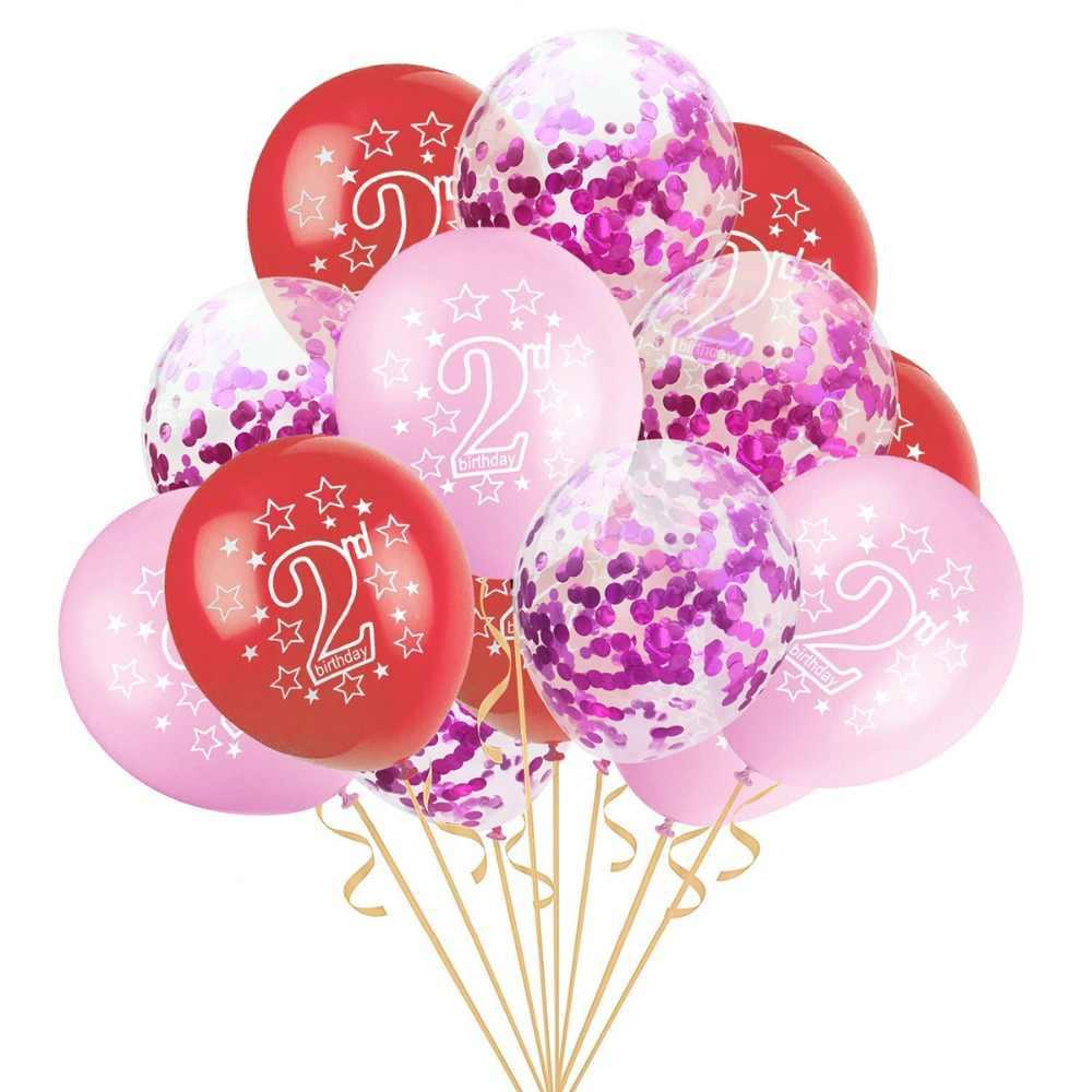 LAPHIL 15 Uds 2 ° cumpleaños azul Rosa confeti globos niño niña soy dos feliz 2 años decoraciones para fiesta de cumpleaños niños favores