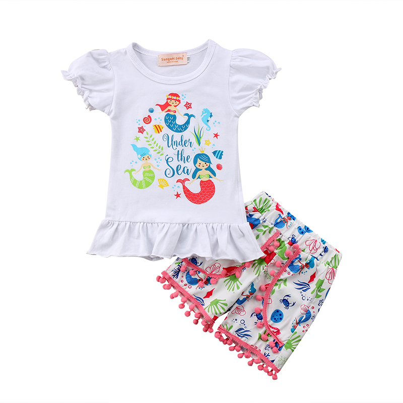 24a58342fda4 Detail Feedback Questions about Little Mermaid Toddler Kids Girls Clothes  Short Sleeve T shirt Tops+Tassel Shorts Hot Pant Outfits Floral Clothing  Set 1 6Y ...