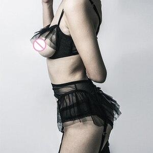 Image 5 - 白黒セクシーなガーゼフリル透明 Cupless クロッチパンティー女性下着セット薄型カップオープンブラジャーブリーフ 2cs セット